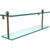 Prestige Regal Collection 22'' Double Glass Shelf, Premium Finish, Antique Brass