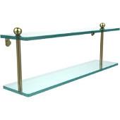 Prestige Regal Collection 22'' Double Glass Shelf, Premium Finish, Satin Brass