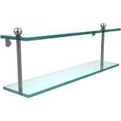 Prestige Regal Collection 22'' Double Glass Shelf, Premium Finish, Satin Nickel