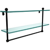 22 Inch Two Tiered Glass Shelf with Integrated Towel Bar, Matte Black