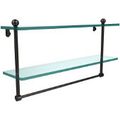 22 Inch Two Tiered Glass Shelf with Integrated Towel Bar, Oil Rubbed Bronze