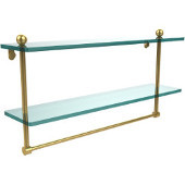 22 Inch Two Tiered Glass Shelf with Integrated Towel Bar, Polished Brass