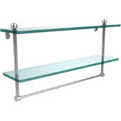 22 Inch Two Tiered Glass Shelf with Integrated Towel Bar, Polished Chrome