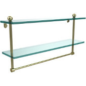 22 Inch Two Tiered Glass Shelf with Integrated Towel Bar, Satin Brass