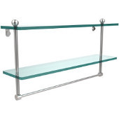 22 Inch Two Tiered Glass Shelf with Integrated Towel Bar, Satin Chrome