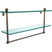 22 Inch Two Tiered Glass Shelf with Integrated Towel Bar, Venetian Bronze