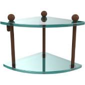 Prestige Regal Collection Double Corner Glass Shelf, Premium Finish, Rustic Bronze