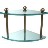 Prestige Regal Collection Double Corner Glass Shelf, Premium Finish, Brushed Bronze