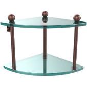 Prestige Regal Collection Double Corner Glass Shelf, Premium Finish, Antique Copper