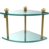 Prestige Regal Collection Double Corner Glass Shelf, Standard Finish, Polished Brass