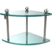 Prestige Regal Collection Double Corner Glass Shelf, Premium Finish, Polished Nickel
