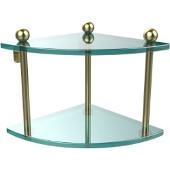 Prestige Regal Collection Double Corner Glass Shelf, Premium Finish, Satin Brass
