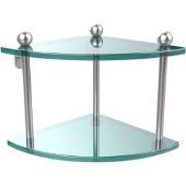 Prestige Regal Collection Double Corner Glass Shelf, Premium Finish, Satin Chrome