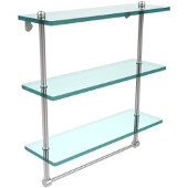 16 Inch Triple Tiered Glass Shelf with Integrated Towel Bar, Polished Chrome