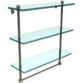 16 Inch Triple Tiered Glass Shelf with Integrated Towel Bar, Antique Pewter