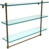 22 Inch Triple Tiered Glass Shelf with Integrated Towel Bar, Brushed Bronze