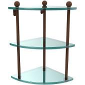 Prestige Regal Collection Triple Corner Glass Shelf, Premium Finish, Rustic Bronze