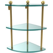 Three Tier Corner Glass Shelf, Unlacquered Brass