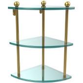 Prestige Regal Collection Triple Corner Glass Shelf, Standard Finish, Polished Brass