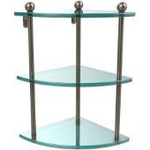 Prestige Regal Collection Triple Corner Glass Shelf, Premium Finish, Antique Pewter