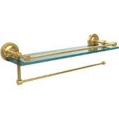 Prestige Regal Collection Paper Towel Holder with 22 Inch Gallery Glass Shelf, Unlacquered Brass