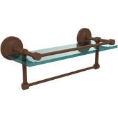 16 Inch Gallery Glass Shelf with Towel Bar, Antique Bronze