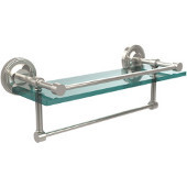 16 Inch Gallery Glass Shelf with Towel Bar, Polished Nickel