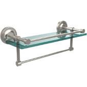 16 Inch Gallery Glass Shelf with Towel Bar, Satin Nickel