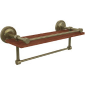 Prestige Regal Collection 16 Inch IPE Ironwood Shelf with Gallery Rail and Towel Bar, Antique Brass