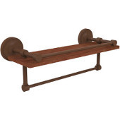 Prestige Regal Collection 16 Inch IPE Ironwood Shelf with Gallery Rail and Towel Bar, Antique Bronze