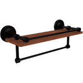 Prestige Regal Collection 16 Inch IPE Ironwood Shelf with Gallery Rail and Towel Bar, Matte Black