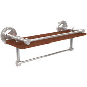 Prestige Regal Collection 16 Inch IPE Ironwood Shelf with Gallery Rail and Towel Bar, Polished Chrome