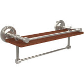 Prestige Regal Collection 16 Inch IPE Ironwood Shelf with Gallery Rail and Towel Bar, Polished Nickel