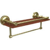 Prestige Regal Collection 16 Inch IPE Ironwood Shelf with Gallery Rail and Towel Bar, Satin Brass