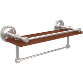 Prestige Regal Collection 16 Inch IPE Ironwood Shelf with Gallery Rail and Towel Bar, Satin Chrome
