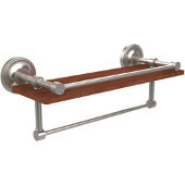 Prestige Regal Collection 16 Inch IPE Ironwood Shelf with Gallery Rail and Towel Bar, Satin Nickel