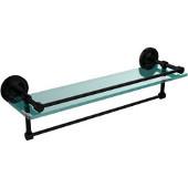 22 Inch Gallery Glass Shelf with Towel Bar, Matte Black