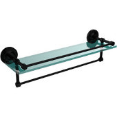 22 Inch Gallery Glass Shelf with Towel Bar, Polished Nickel