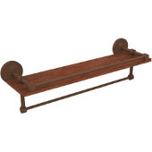 Prestige Regal Collection 22 Inch IPE Ironwood Shelf with Gallery Rail and Towel Bar, Antique Bronze