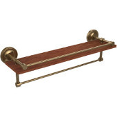 Prestige Regal Collection 22 Inch IPE Ironwood Shelf with Gallery Rail and Towel Bar, Brushed Bronze