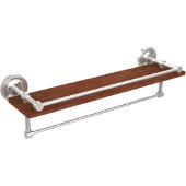 Prestige Regal Collection 22 Inch IPE Ironwood Shelf with Gallery Rail and Towel Bar, Satin Chrome