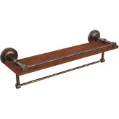 Prestige Regal Collection 22 Inch IPE Ironwood Shelf with Gallery Rail and Towel Bar, Venetian Bronze