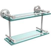 Prestige Regal 16 Inch Double Glass Shelf with Gallery Rail, Polished Chrome