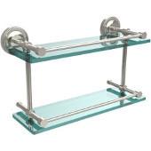 Prestige Regal 16 Inch Double Glass Shelf with Gallery Rail, Polished Nickel