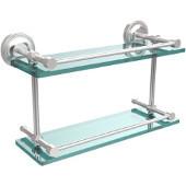 Prestige Regal 16 Inch Double Glass Shelf with Gallery Rail, Satin Chrome
