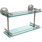 Prestige Regal 16 Inch Double Glass Shelf with Gallery Rail, Satin Nickel