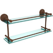 Prestige Regal 22 Inch Double Glass Shelf with Gallery Rail, Antique Bronze