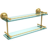 Prestige Regal 22 Inch Double Glass Shelf with Gallery Rail, Unlacquered Brass