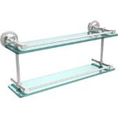 Prestige Regal 22 Inch Double Glass Shelf with Gallery Rail, Polished Chrome