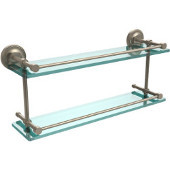 Prestige Regal 22 Inch Double Glass Shelf with Gallery Rail, Antique Pewter